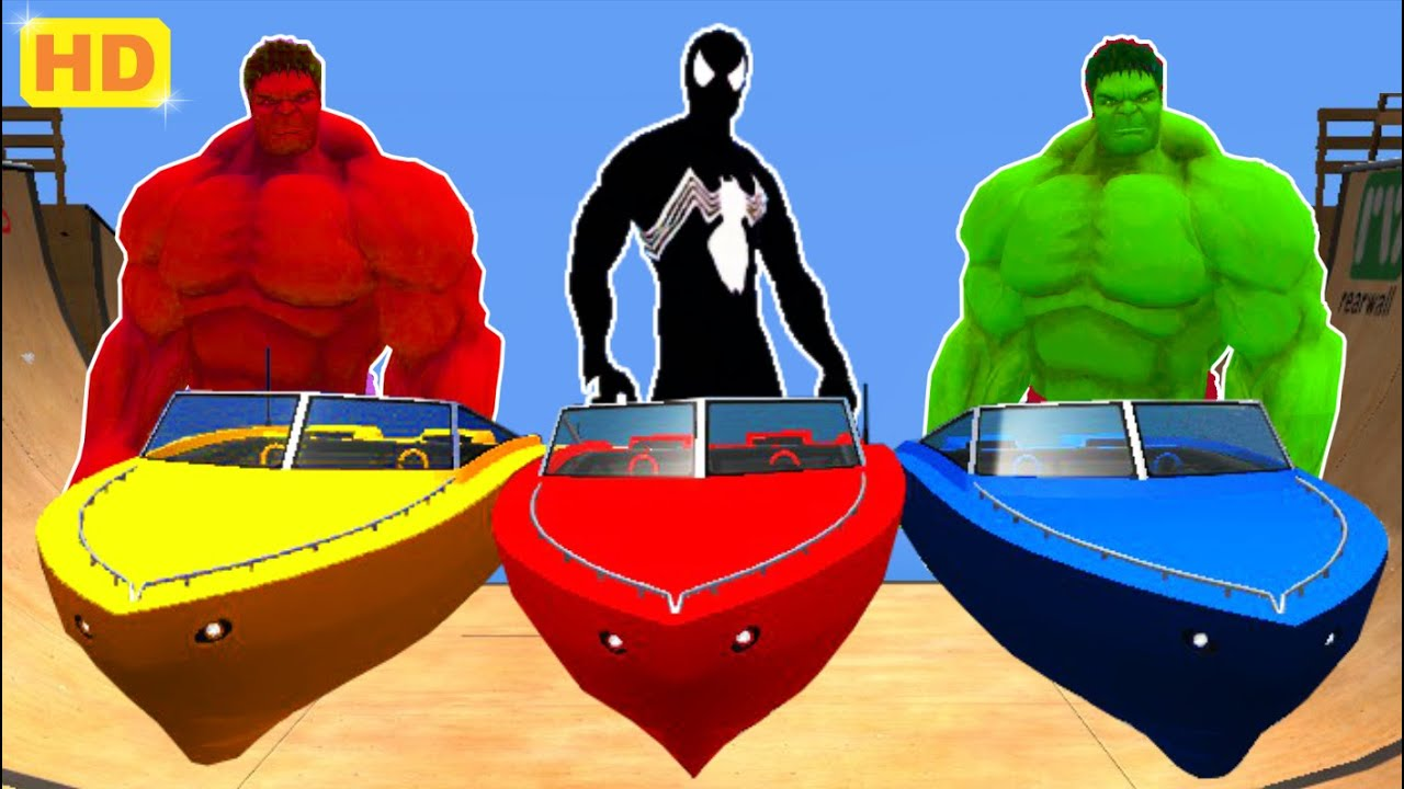 Download SPADERMAN & HULK COLORS EPIC BOAT PARTY   Nursery Rhymes Animated Songs Lightning McQueen Car COLORS