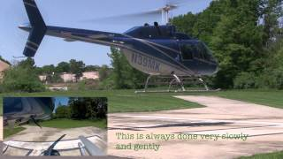 Helicopter flight multi camera view start up and take off. Bell Jetranger 206