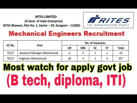 GOVERNMENT JOB FOR ENGINEERING MECHANICAL,ELECTRICAL IN RITES.TRADE APPRENTICE ON ITI, GOV