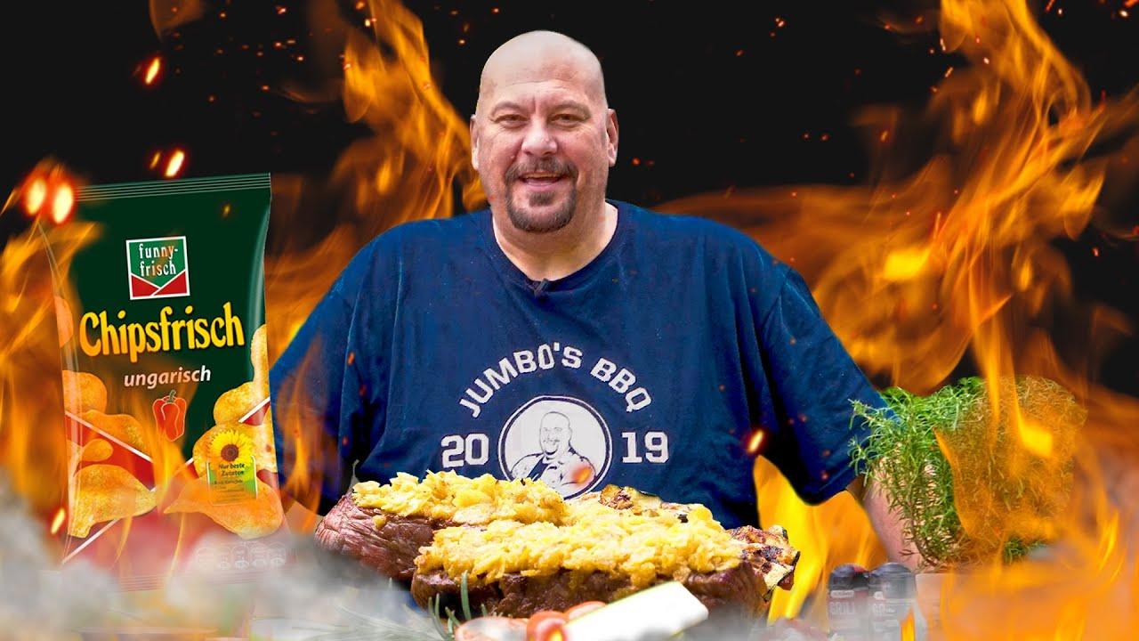 Entrecote Steak mit Chips-Panade und Zucchini-Tomatenröllchen - Jumbo Schreiner BBQ Schule