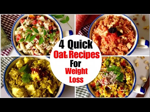 4 Quick And Easy Oats Breakfast Recipes | How To Make Savoury Veg Oatmeal | Oats For Weight Loss