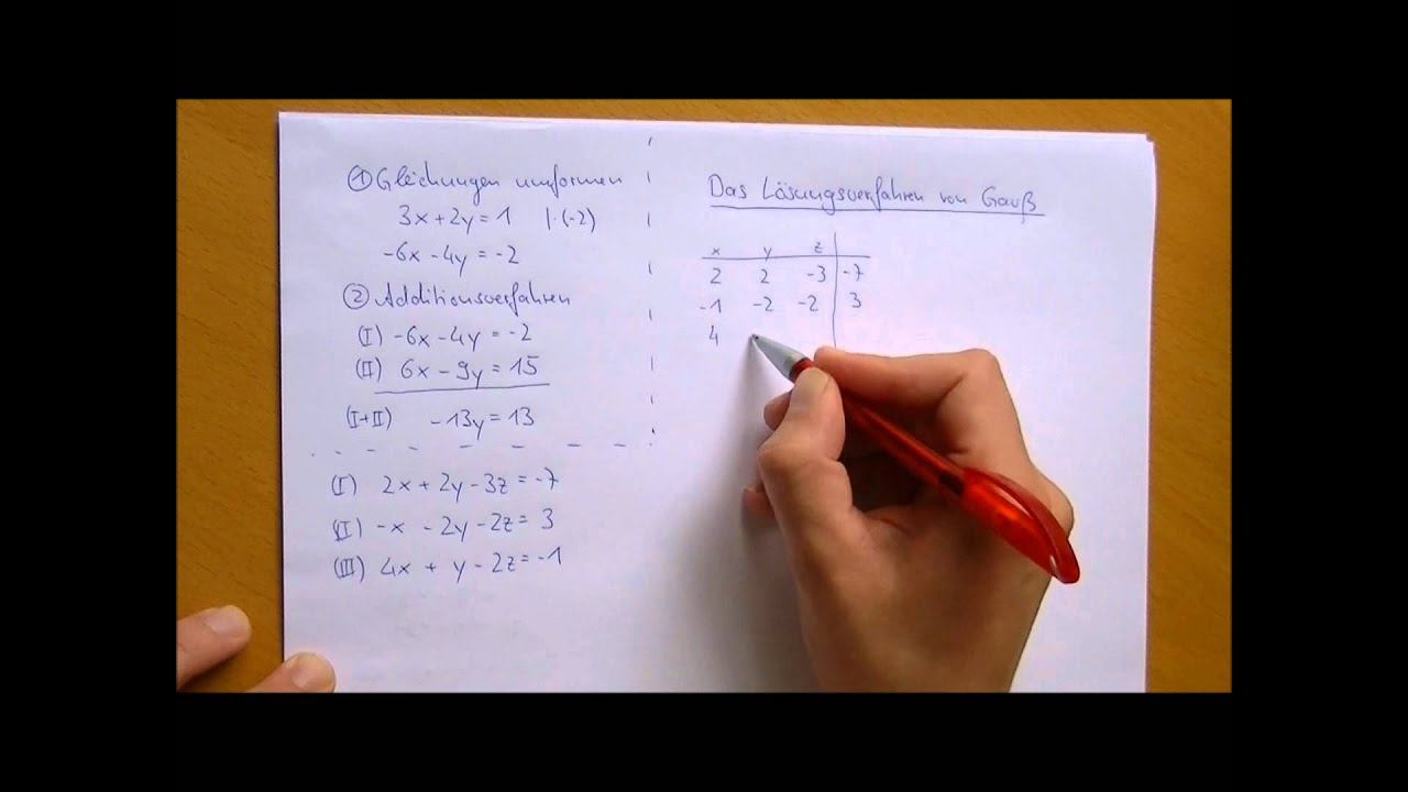 Gauß - Lösungsverfahren - YouTube