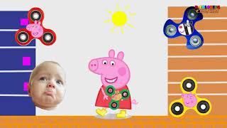 peppa 豚と間違った色のそわそわスピナービデオ |子供のための色の教育を学ぶ