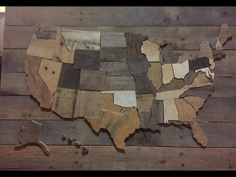 DIY United States Wall Map USA decor pallet wood