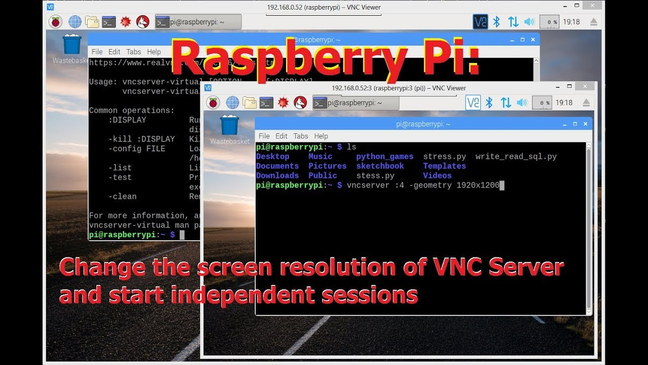 Change the resolution of VNC Server & start independent sessions