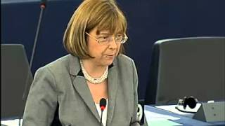 Dublin MEP Emer Costelle speaking in the European Parliament on reducing Ireland