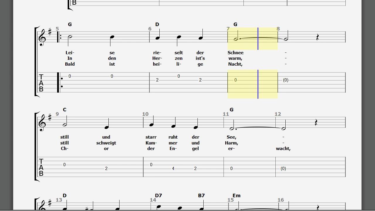 Gitarren TABS Melodie Leise rieselt der Schnee - YouTube