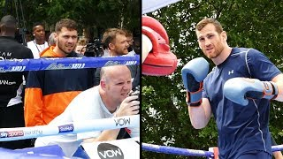 WATCHED! Dave Allen keeps an eye on David Price | Matchroom Boxing Public Workout