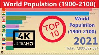 Top 10 Countries Of World Population 1900-2100 India,China,U