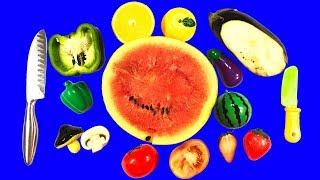 Учим и РЕЖЕМ ИГРУШКИ овощи и фрукты на липучках против настоящих развивающее видео для детей
