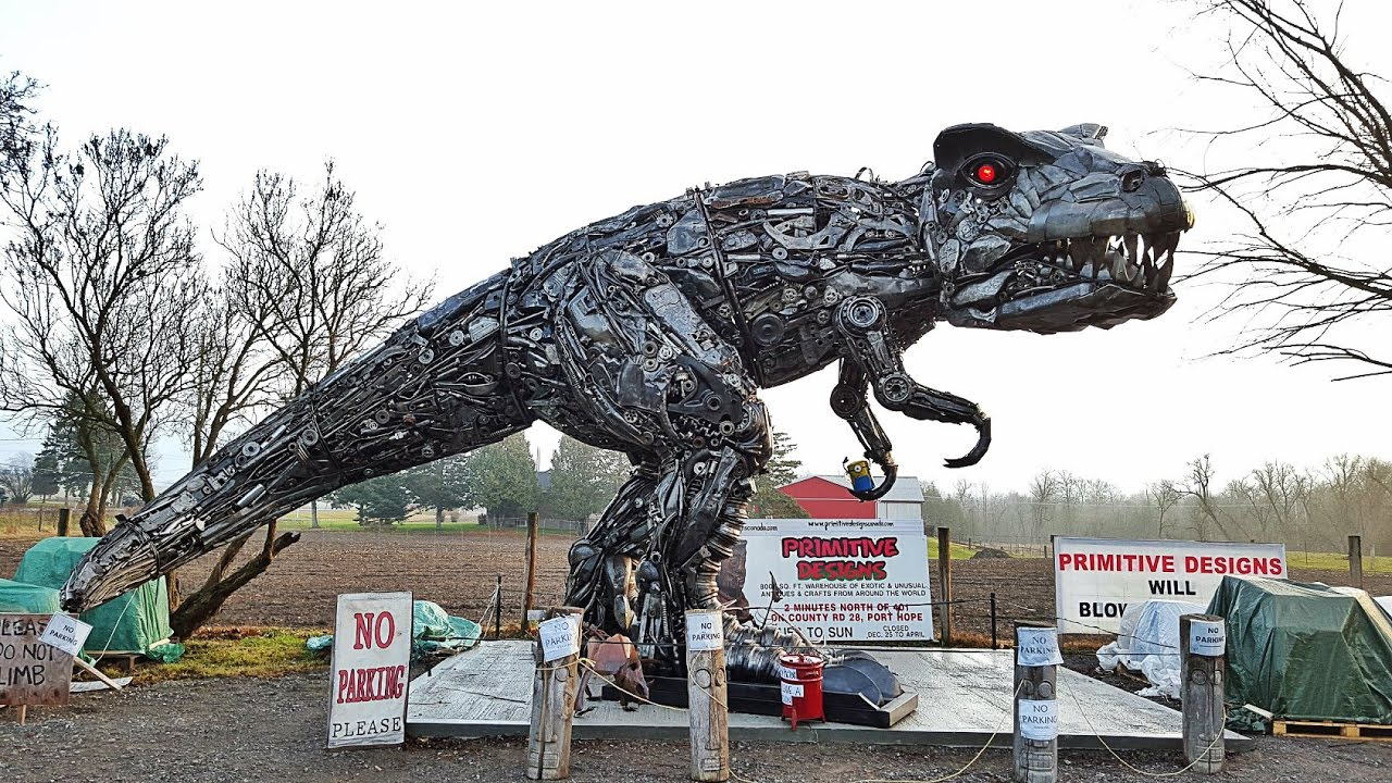 Cool Store has huge T-Rex, Optimus Prime made out of junk