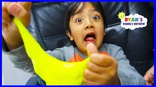 Kid Airplane Trip with Slime and Warheads Sour Candy!