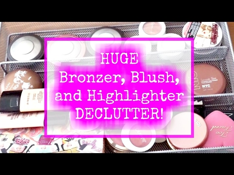 Huge Makeup Declutter | Bronzers, Blushes, and Highlighters | Purging/ Declutter Series