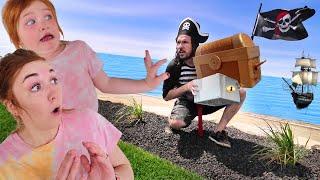 Adley's PiRATE ☠ iSLAND!!  hidden treasure on a Magic Beach, new Hide n Seek pretend play with Mom!