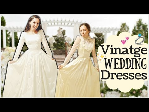 TRYING ON REAL VINTAGE WEDDING DRESSES - YouTube