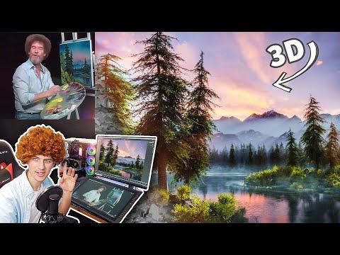 VFX Artist follows Bob Ross Tutorial using 3D Graphics