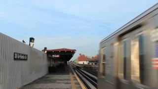 BMT Subway: R160 (N) and (Q) Trains at 39th Ave