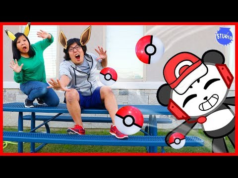 Pokemon Lets Go Catch Pokemon In Real Life Human Edition with Combo Panda!!!