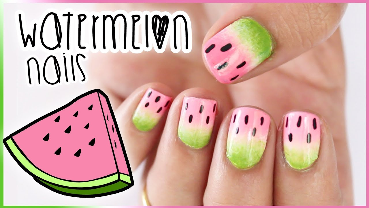 Easy Watermelon Nails