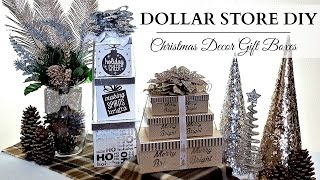 DIY Christmas Decor Gift Boxes ~ DOLLAR STORE DIY ~ Silver, White, & Champagne Gold