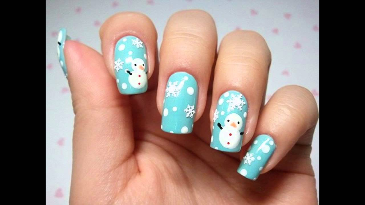 Winter theme nail art ideas - YouTube