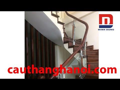 Cầu thang kính - Cầu thang kính cong -  Mẫu cầu thang kính đẹp thi công và hoàn thiện tại Hà Nội
