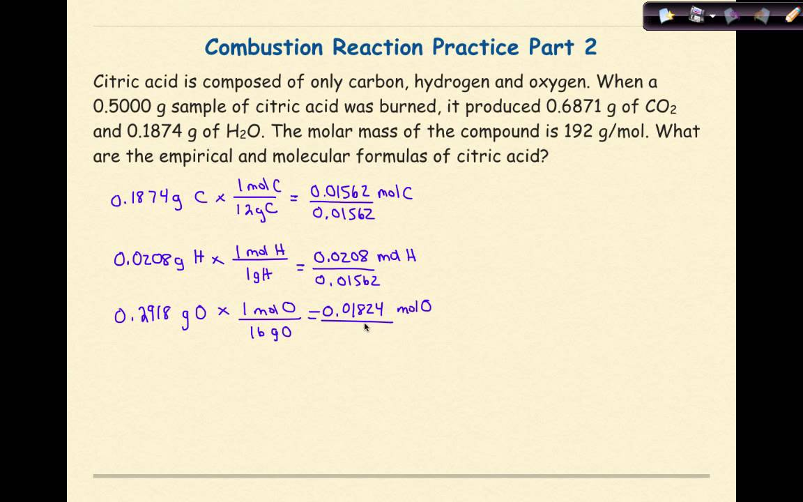 Combustion Reactions Problem 2 Youtube