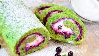 Рулет со шпинатом и черной смородиной ☆ Biscuit roll with spinach