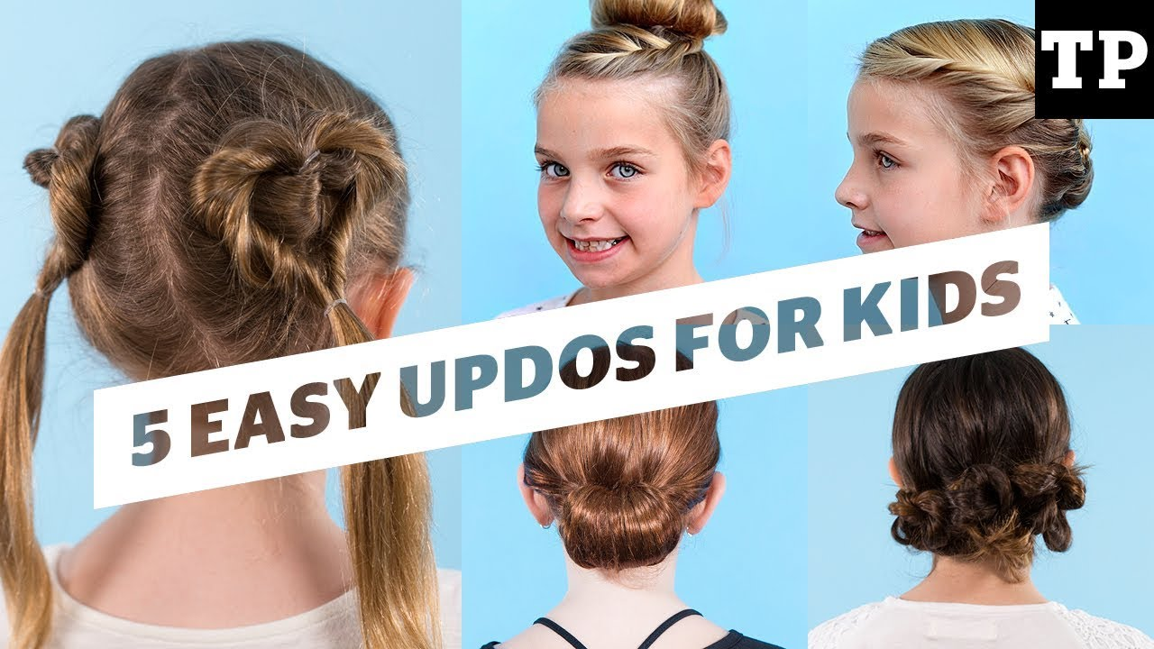 How To 5 Cute And Simple Updo Ideas Hairstyles For Kids Youtube