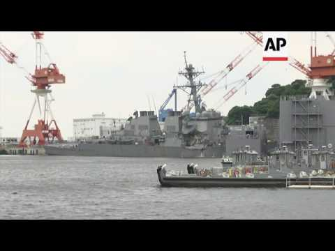 Collision damage clearly visible on US ship