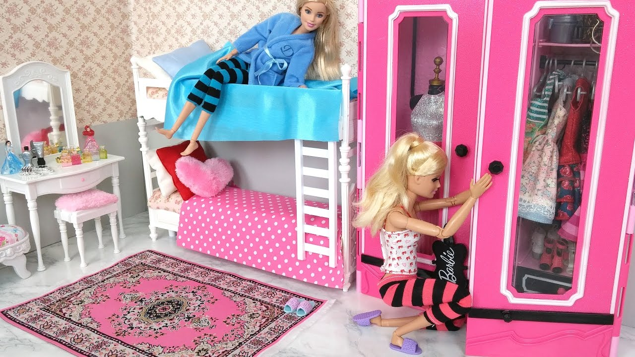 Barbie Bedroom In A Box: Barbie Bedroom Bunk Bed Morning Routine دمية باربي غرفة