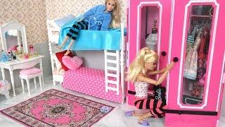 Barbie Bedroom Bunk Bed Morning Routine دمية باربي غرفة نوم Beliche Para Barbie Quarto