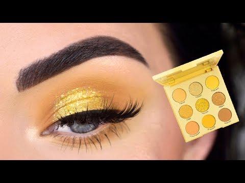 ColourPop Uh-Huh Honey Eyeshadow Palette   Yellow Eye Makeup Tutorial
