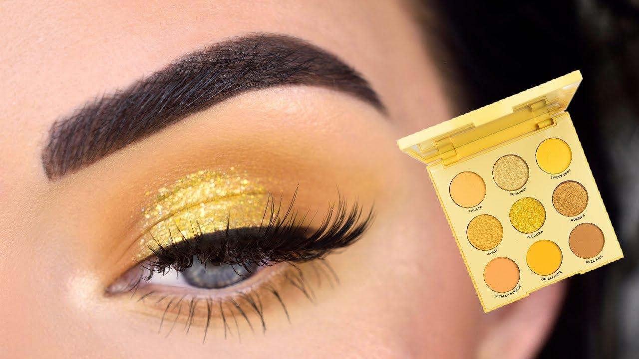 Colourpop Uh Huh Honey Eyeshadow Palette Yellow Eye Makeup Tutorial Youtube