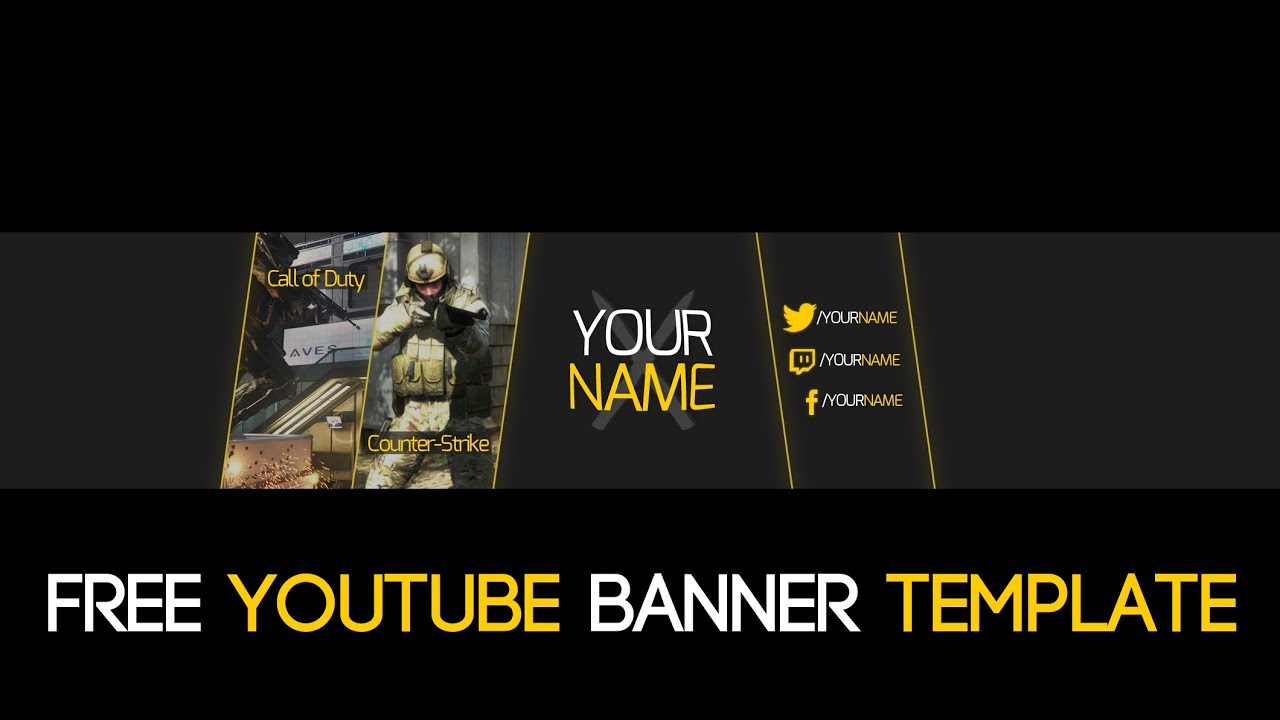 FREE Gaming Simple 2D YouTube Banner PSD TEMPLATE 2015! - YouTube