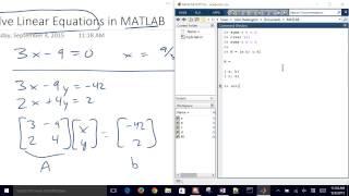 حل المعادلات الخطية مع MATLAB
