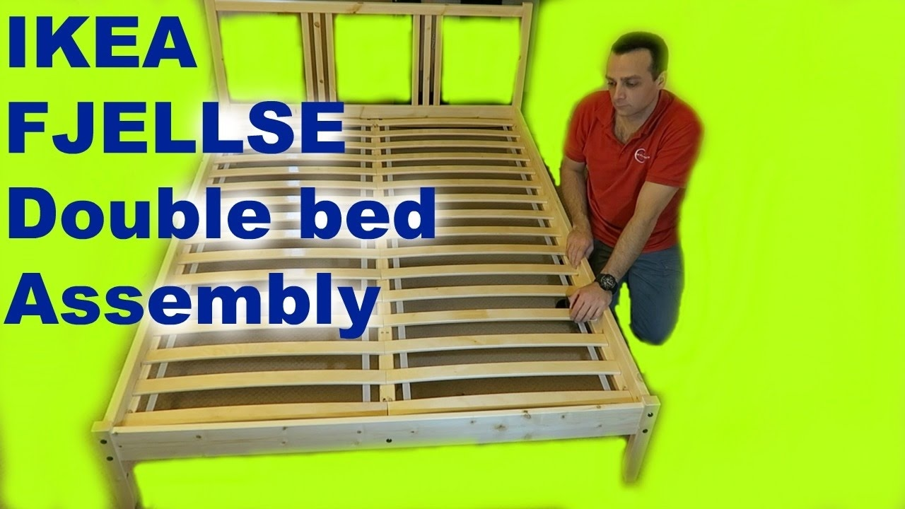 Ikea Fjellse Double Bed Frame Assembly With Luroy Slatted Bed Base