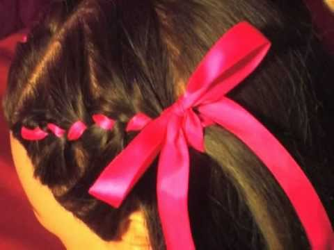 How to cute flower girl wedding Hair Style Ribbon French Braids Tutorial  YouTube