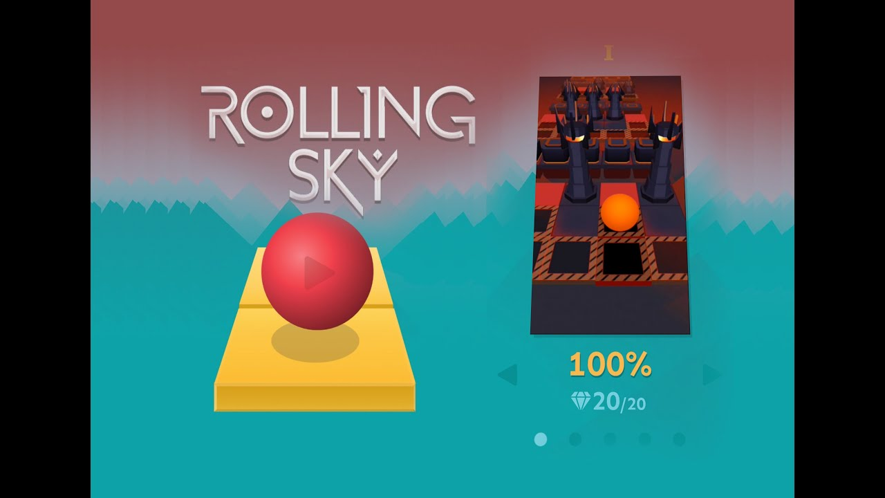 ROLLING SKY - Level 5 Complete 100% ALL GEMS Gameplay ... Rolling Sky