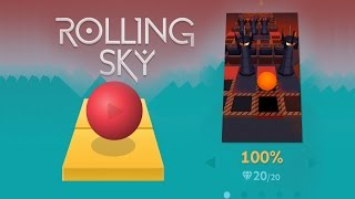 rolling sky level 5 complete 100 all gems gameplay