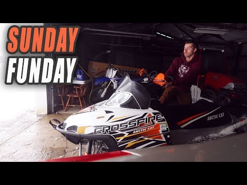 Snowmobile Ditch Banging RACING CARS ON THE ROAD- SUNDAY FUNDAY