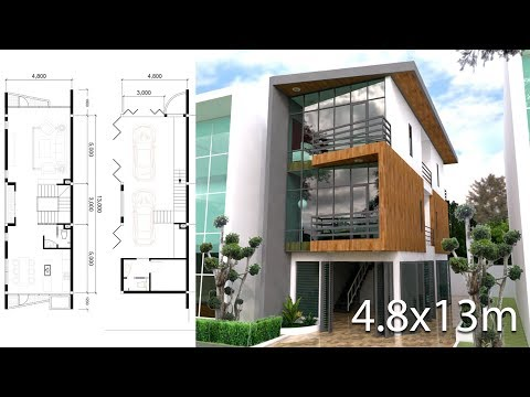 Sketchup Modeling 3 stories Narrow House design size 4 4 Bedrooms Plan