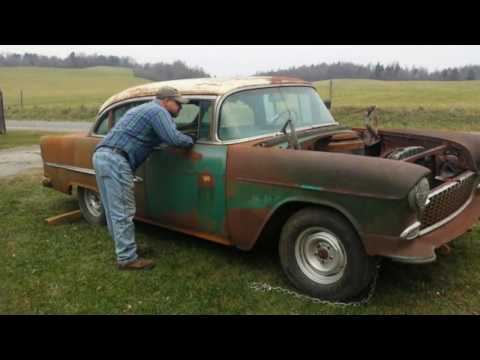 barn find 1955 belair chevy v/8