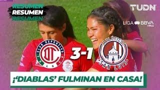 Resumen y Goles | Toluca 3 - 1 Atlético San Luis | Liga MX Femenil - J 14 - AP 2019 | TUDN