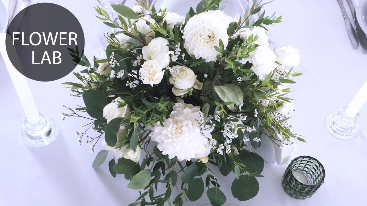 How To Make Flower Arrangement Diy White Wedding Bouquet Youtube