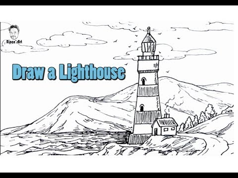 How to draw a lighthouse easy step by step free drawing lesson for beginners ripons art