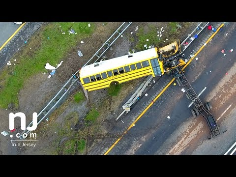 Drone video: Fatal bus crash scene on I-80
