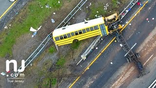 School bus accident scene on Route 80 captured by drone