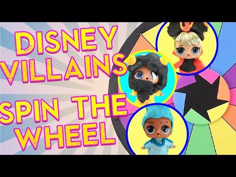 LOL Surprise Dolls Disney Villains Spin the Wheel Game! Featuring Curious QT!   LOL Dolls Families