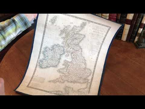 British Isles U.K. 1828 Brue linen backed old map